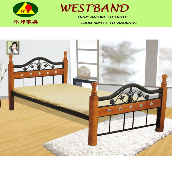 Queen Size Wooden And Steel Bed, Wood And Steel Bedroom Furniture