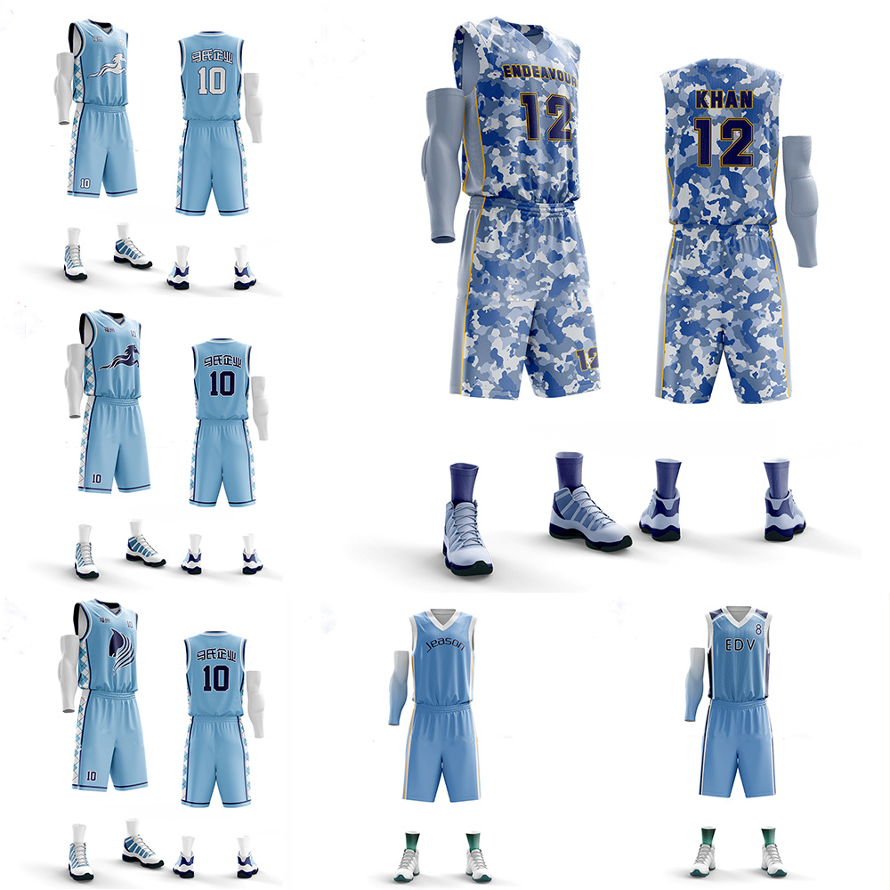 [Hot Item] Basketball Jersey Set Blank Sport Clothing Custom Basketball Uniforms Training Shirts Pockets Shorts
