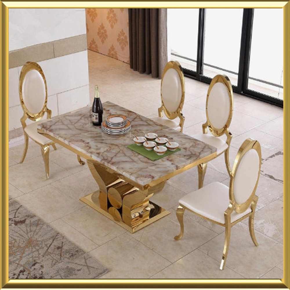 China Wholesale Modern Gold Stainless Steel Dining Room Furniture / White Marble Top Dining Table with Royal Crown King Throne Chairs - China Marble Dining ... & China Wholesale Modern Gold Stainless Steel Dining Room Furniture ...