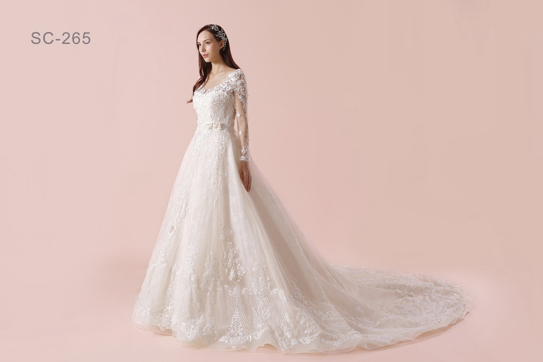 China Alibaba New Design Long Sleeves Lace Wedding Dress Patterns ...