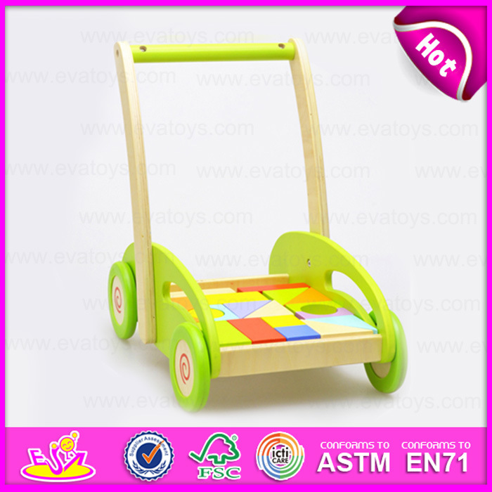 2015 Hottest Sale Wooden Baby Stroller Toy, Wooden Toy Car Stroller with Puzzle Block, Wholesale Wooden Push Baby Stroller W16e027