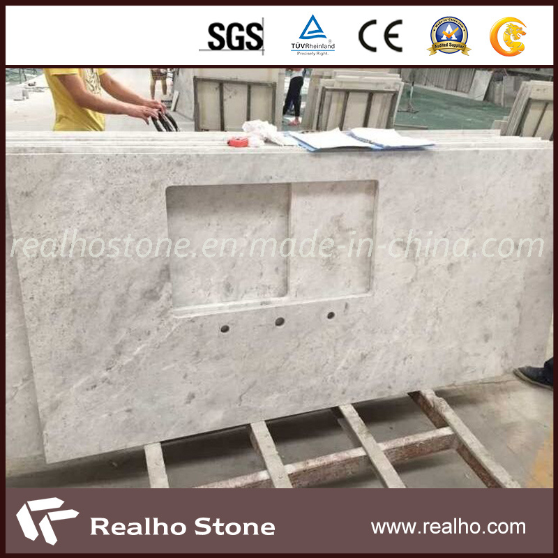 Chinese Alpine White Marble Countertop With Sink Cut Kitchen