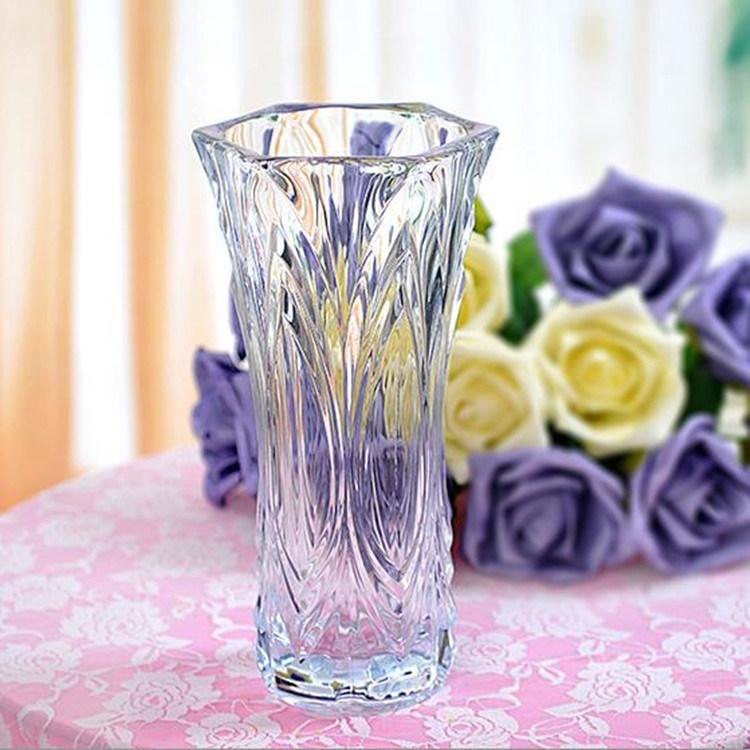 China 2016 Wholesale Beautiful Crystal Transparent Glass Flower Vase