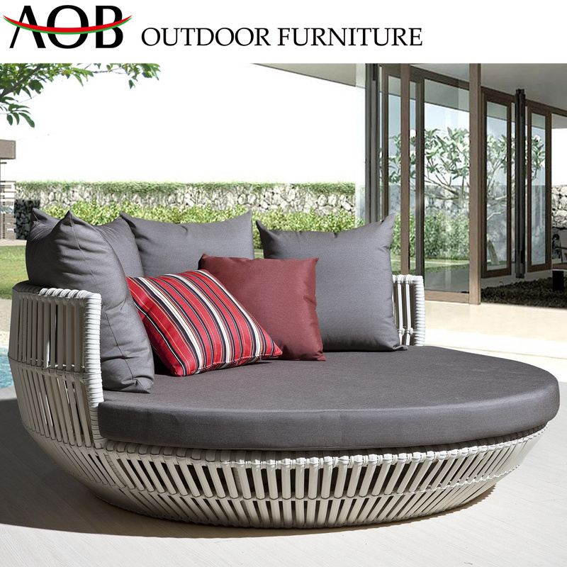 [Hot Item] Stylish Luxury Outdoor Garden Patio Furniture Rattan Wicker  Round Bed Daybed Sunbed