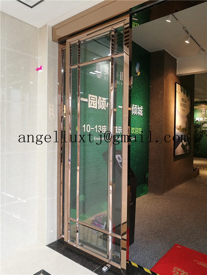 China Rose Gold Mirror Finish 304 Stainless Steel Door Frame