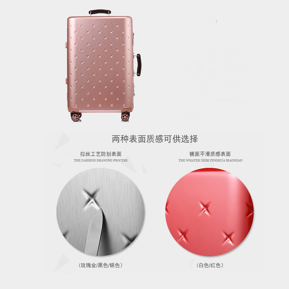 Rose Gold Color ABS Luggage and Trolley with Aluminium Frame