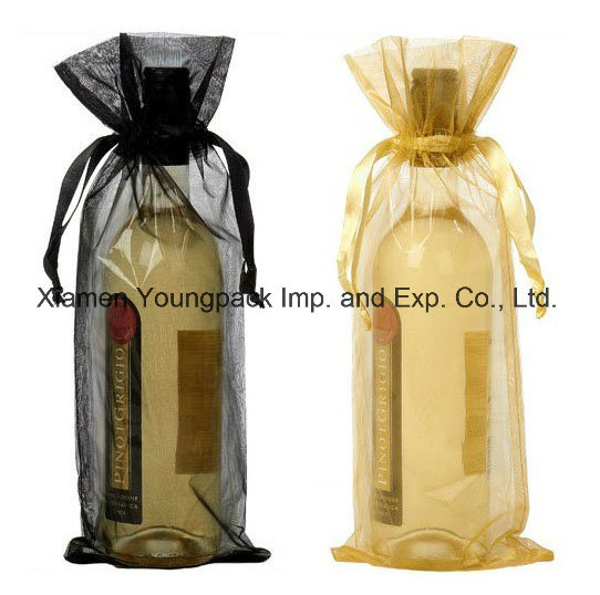 Wholesale Promotional Wine Packaging Bags Advertising Custom Printed Reusable Burlap Jute Fabric Drawstring Single Bottle Wine Gift Bags pictures & photos