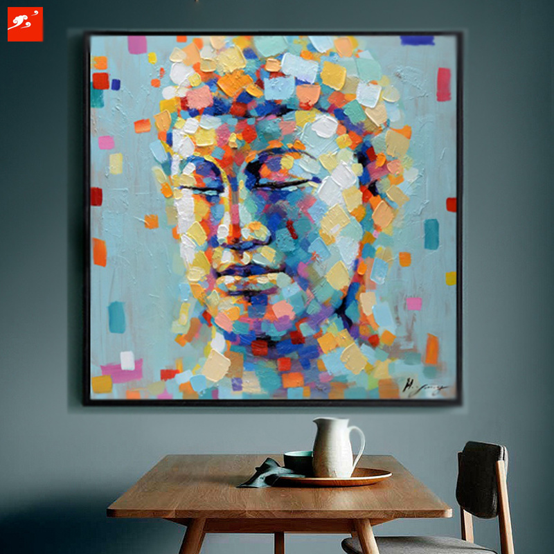 Asian Budda Portrait Handmade Oil Painting