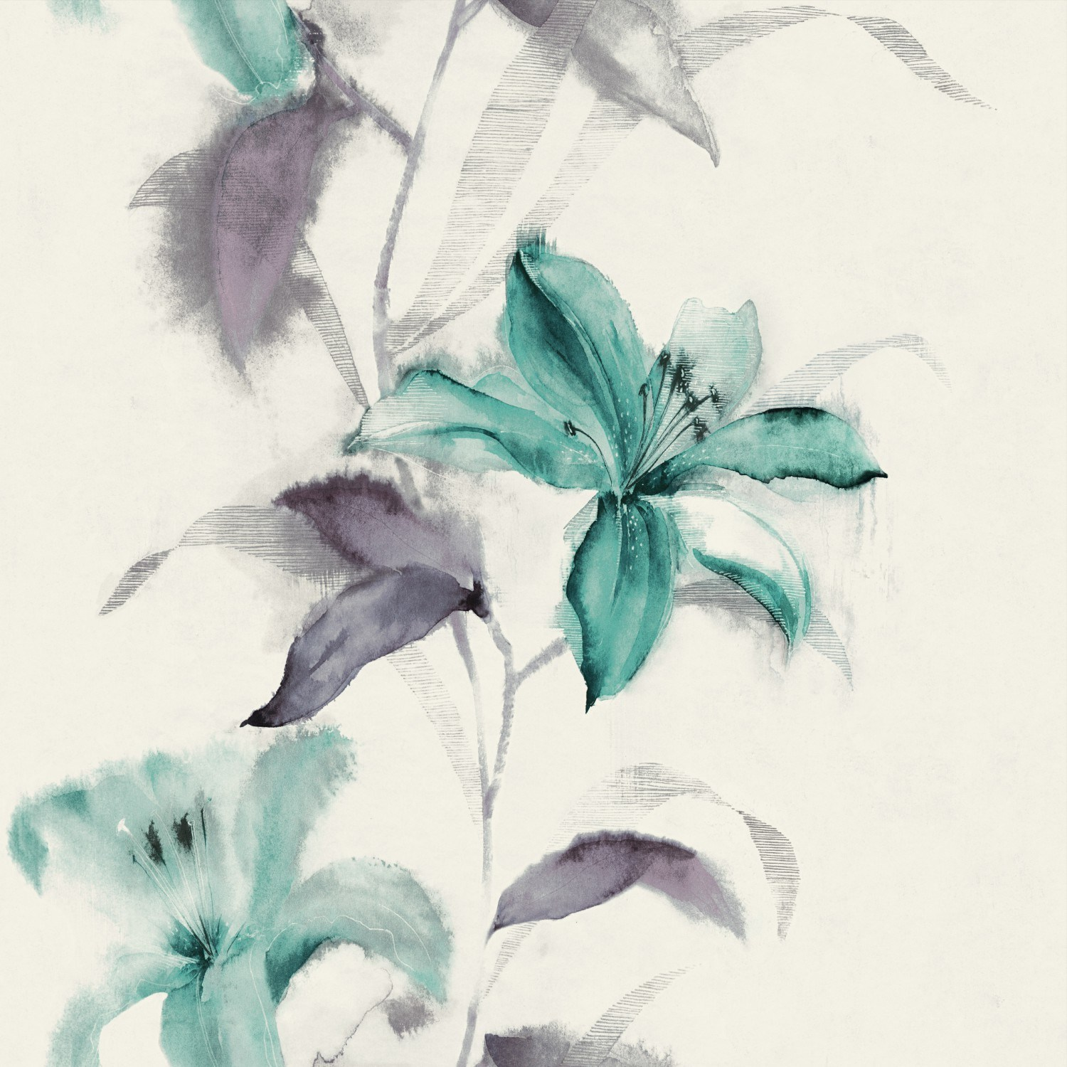 China Cheap Price Ink Painting Beautiful Flower Pvc Wallpaper For