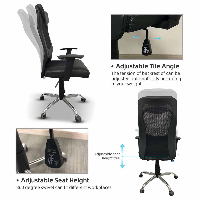 Adjustable Mesh High Back Office Chair Computer Desk Seat w// Headrest Black