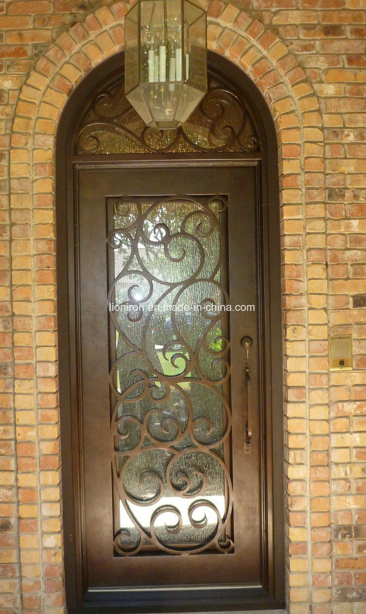 China Decorative Wrought Iron Front Doors With Flemish Glass Exterior Door Steel