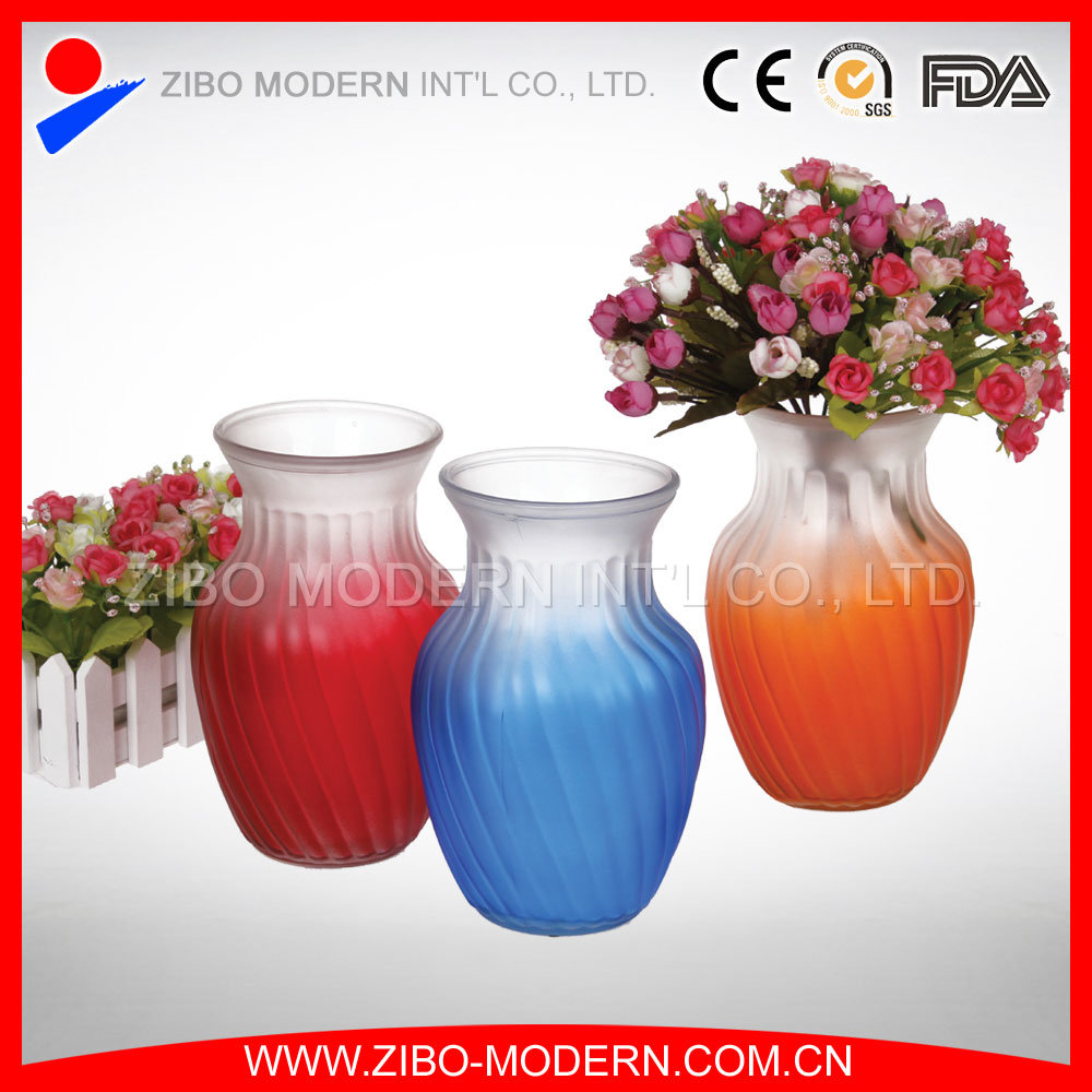 China Colored Glass Vases Semi-Color Sprayed Cheap Colored Glass ...