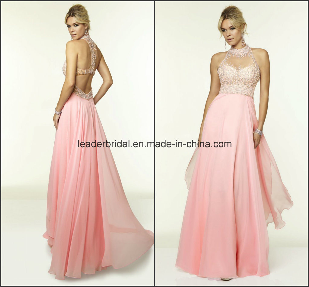 China High Neck Fashion Ladies Gowns Sheer A-Line Party Prom Dress ...