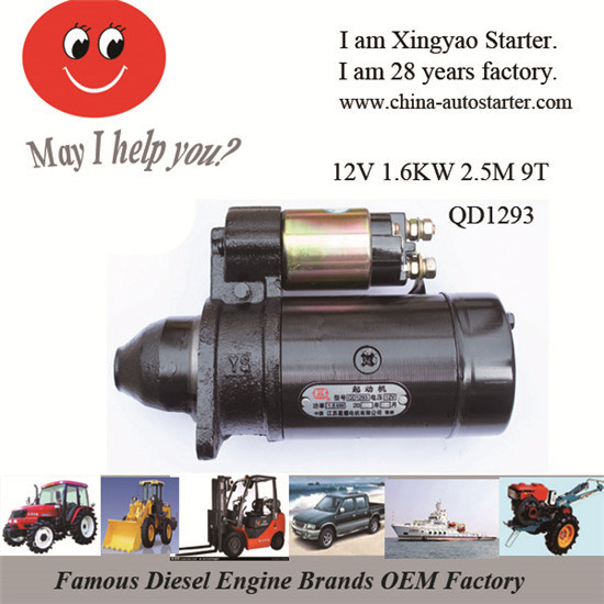 1.6kw 12V 3m 9 Teeth Pionion Electric Car Motors (QD1293)