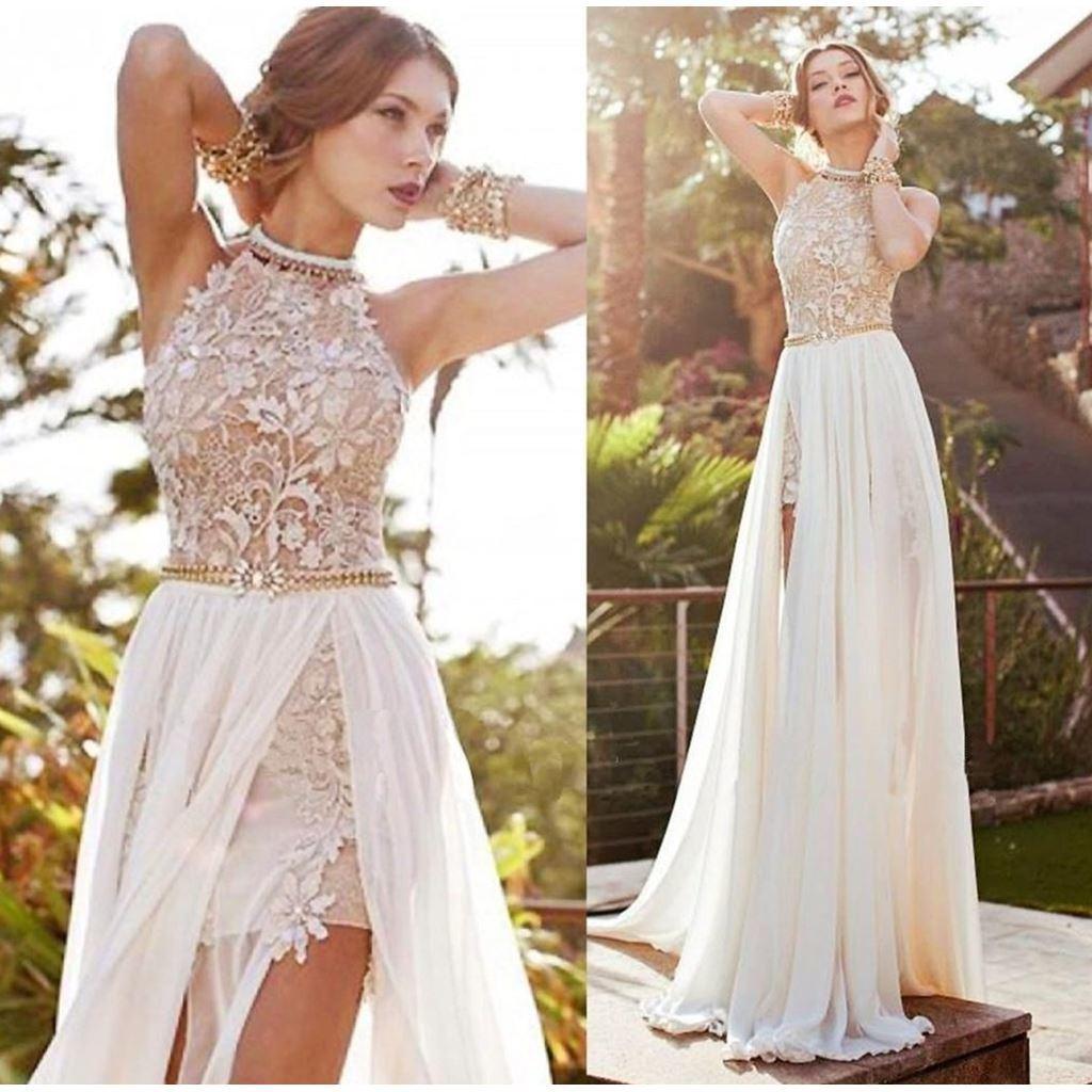 China Julie Backless Evening Dress Side Slit Lace Beach