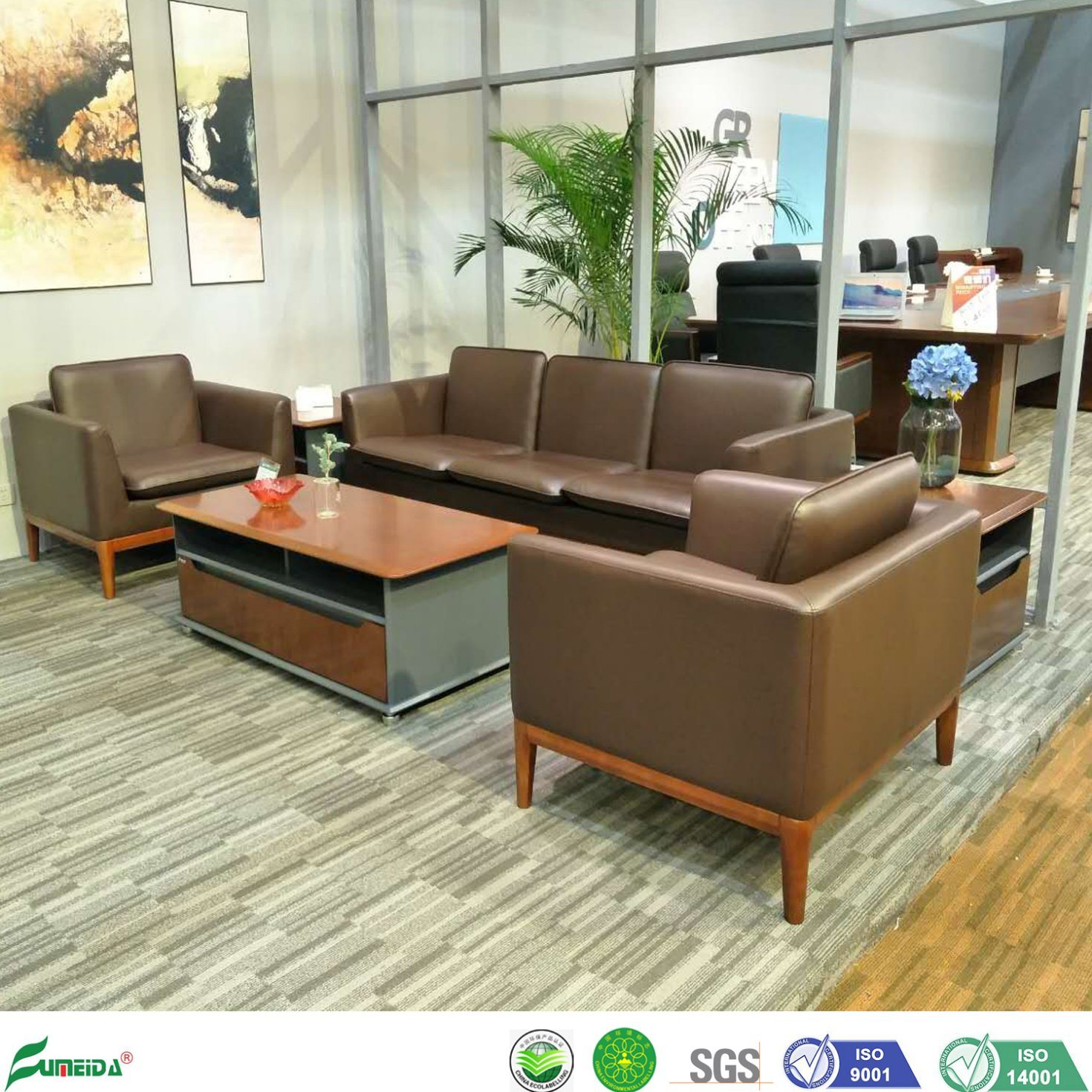 Hot Item Wooden Sofa Set Furniture Modern Office Leather Reception Sofa For Project