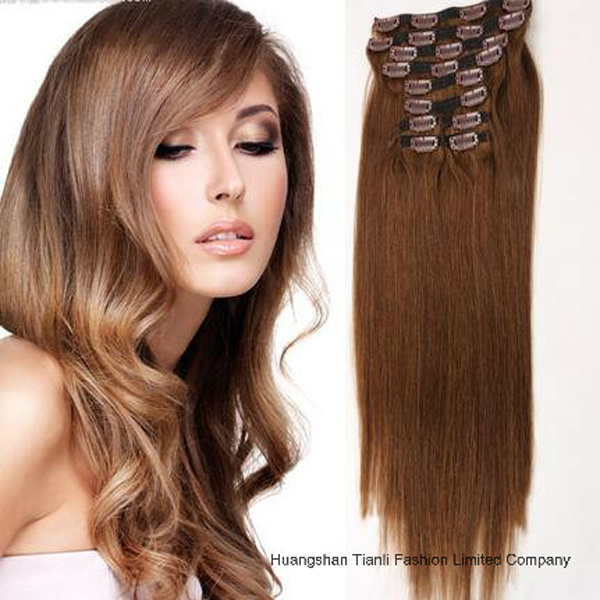 China One Piece Long Curly Clipin Hair Extensions India Hair China