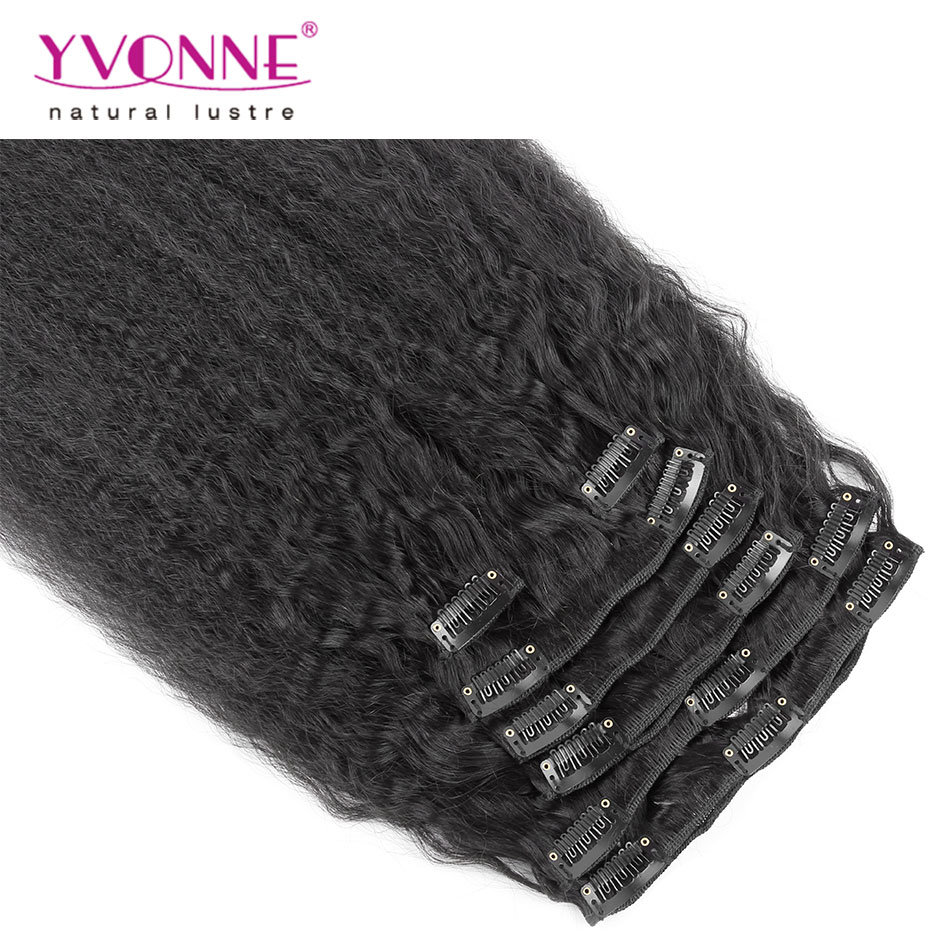 China Brazilian Human Hair Clip In Extension Kinky Straight Clip In