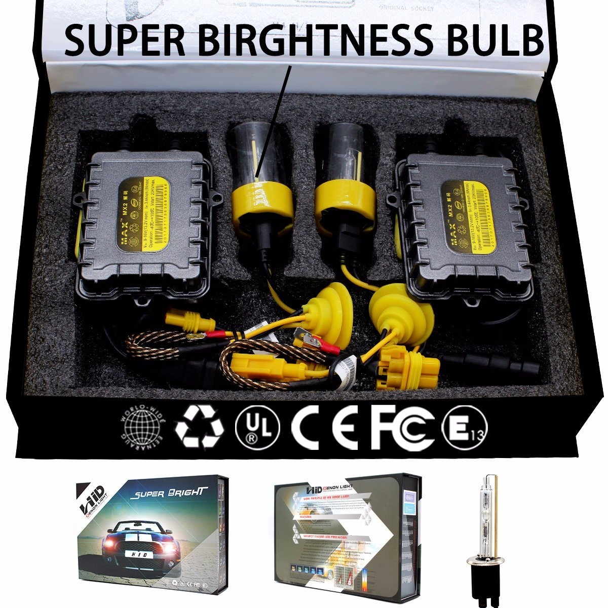 10000K H7 Xenon HID Conversion Kit Light Bulbs