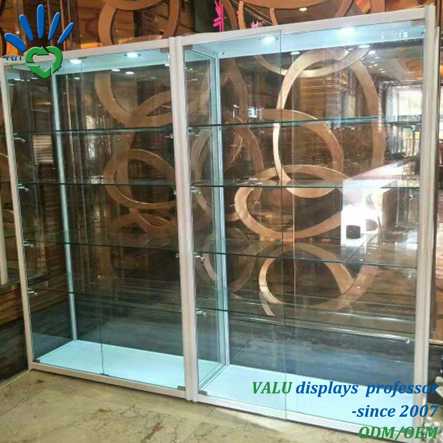 China Shop Used Lockable Glass Doors Ornaments Glass Display Cabinet