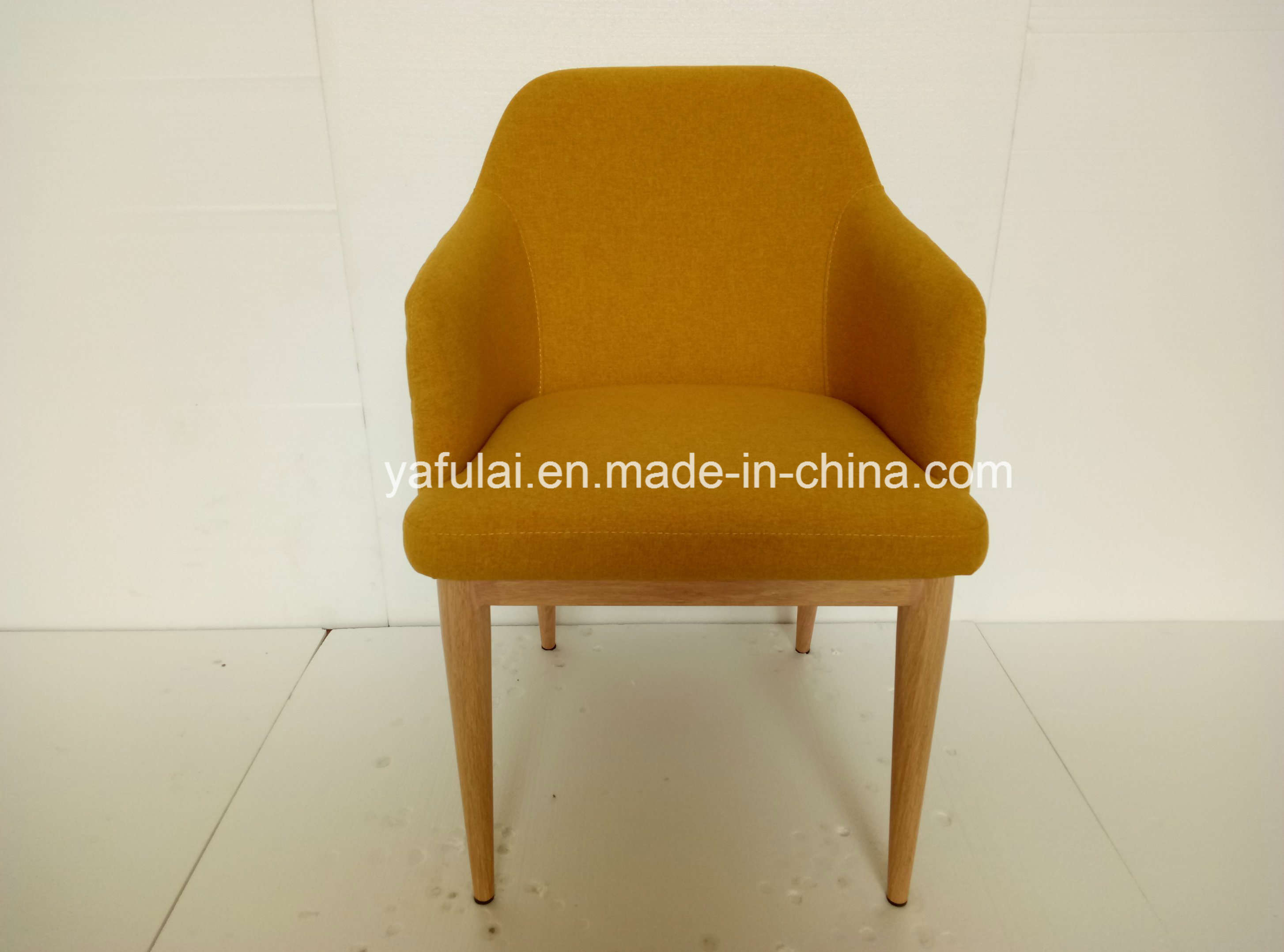 Customized Yellow Fabric Armchair Imitation Wood Grain Home Furniture