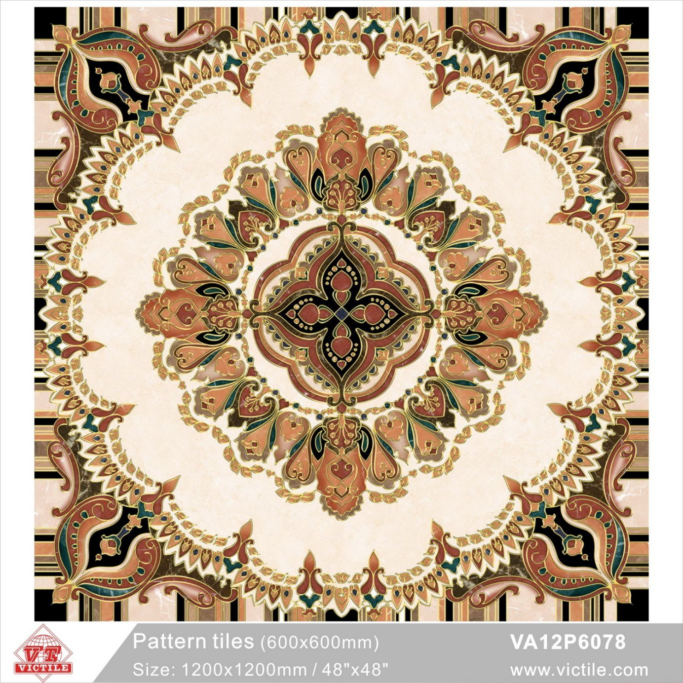 China Art Decoration Material Pattern Flower Carpet Floor Tile