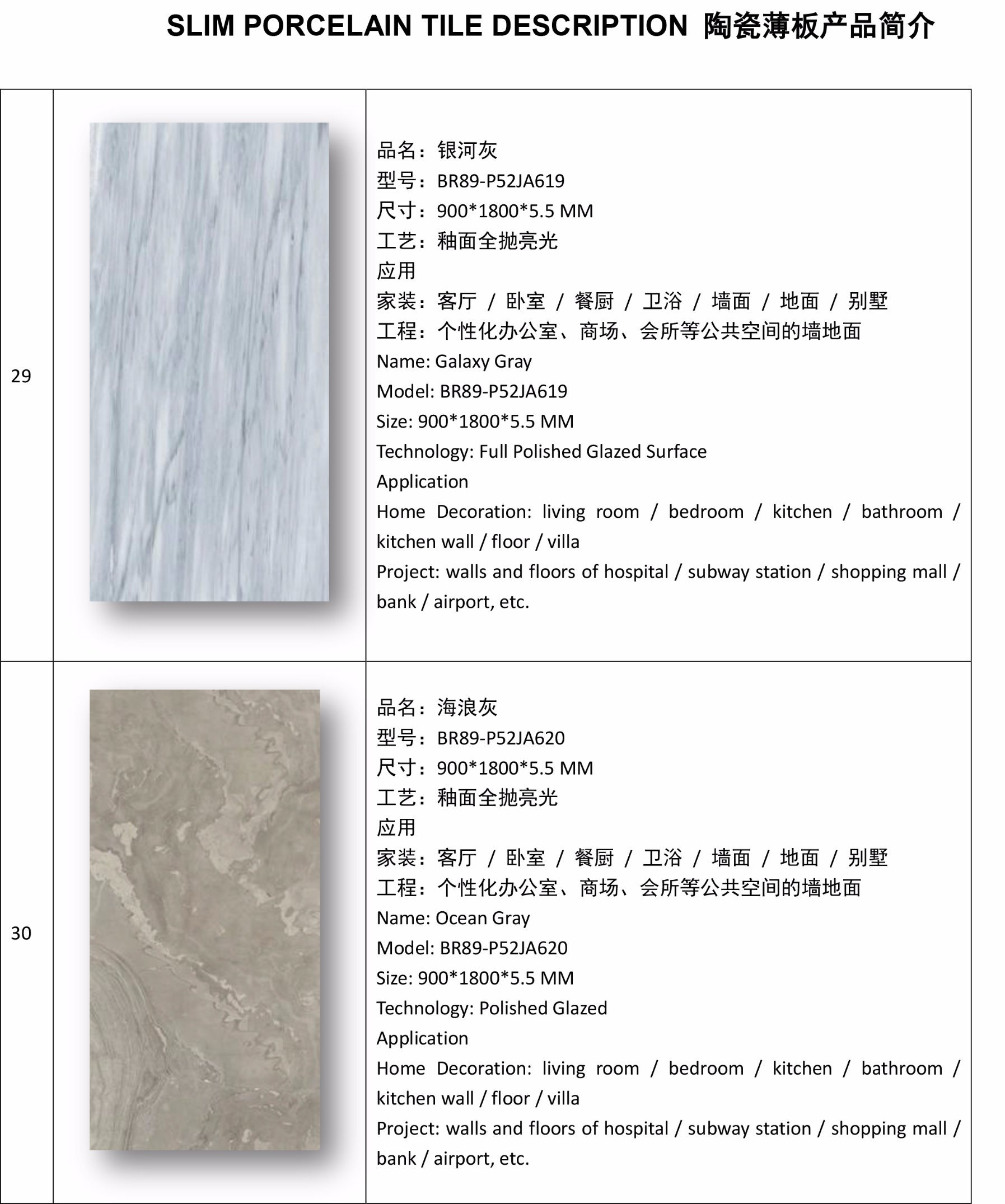 China 5.5mm Thickness Super Thin Slim Porcelain Tiles for Indoor ...
