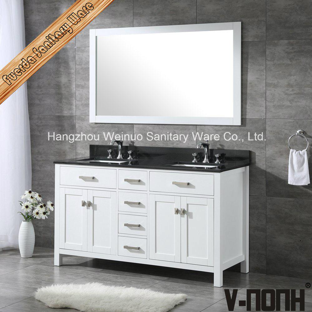 Solid Wood Double Sinks Bathroom Vanity