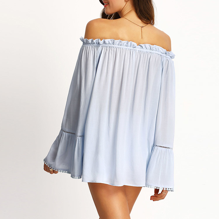 fd00333692bad Light Blue off The Shoulder Blouse Bell Sleeve Blouse   Shirt for Ladies