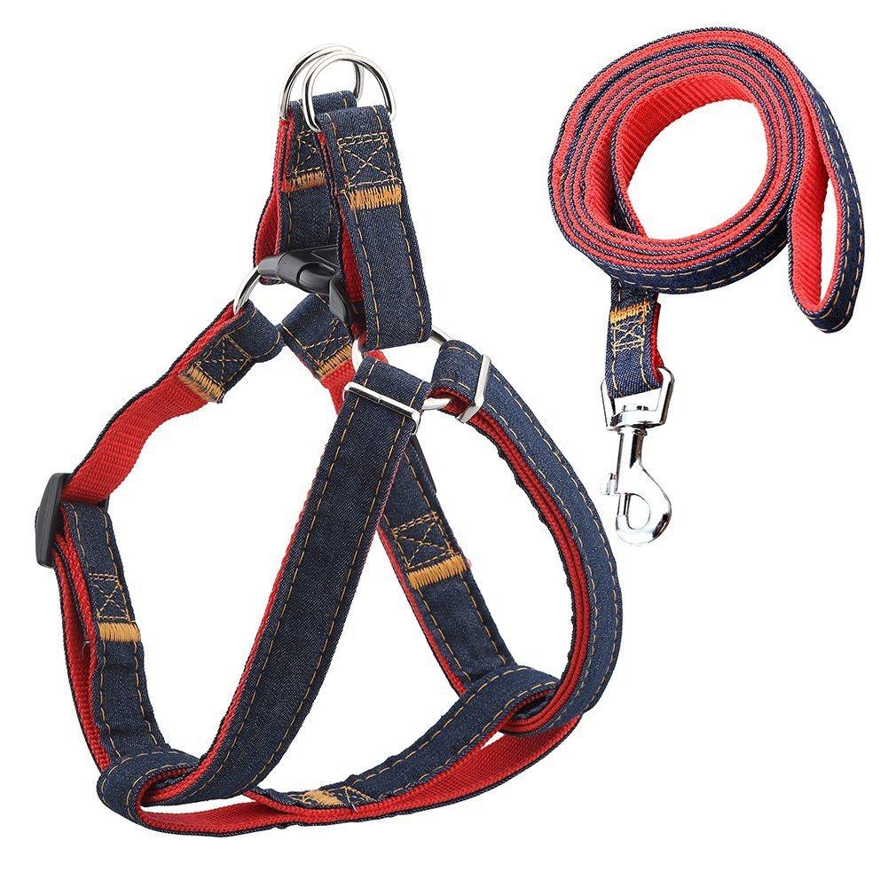Adjustable Dog Pet Belt Harness Leash Collar Set Durable Denim Strap Dog Supply
