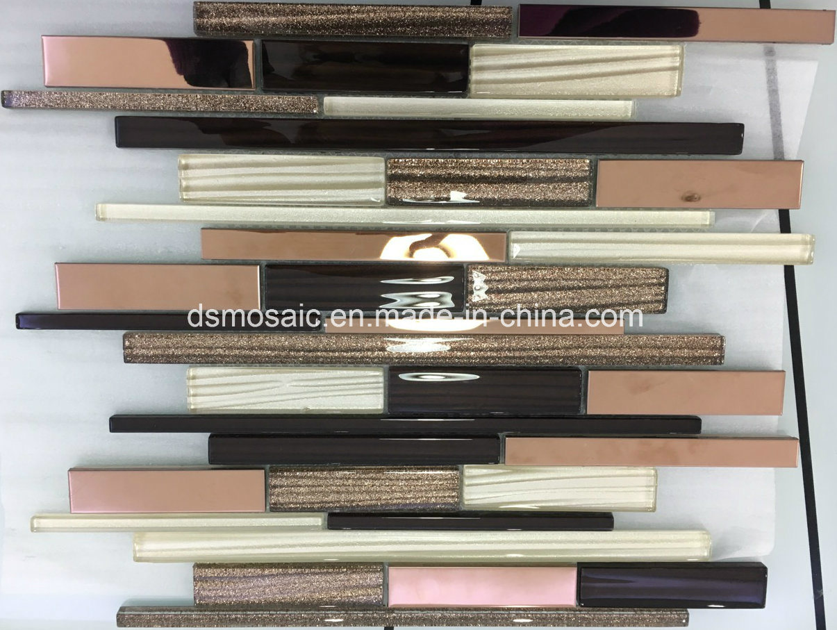 Modern Style Stripe Glass, Marble and Stainless Mixed Mosaic Tile pictures & photos