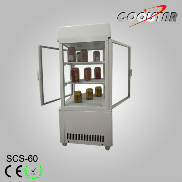 China Front And Back Open Glass Door Countertop Refrigerating Showcase Scs 60 Cooler Refrigerator
