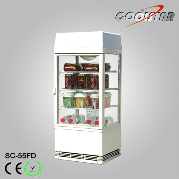 China Countertop Four Glass Door Display Refrigerating Showcase With Light Box Cooler Refrigerator