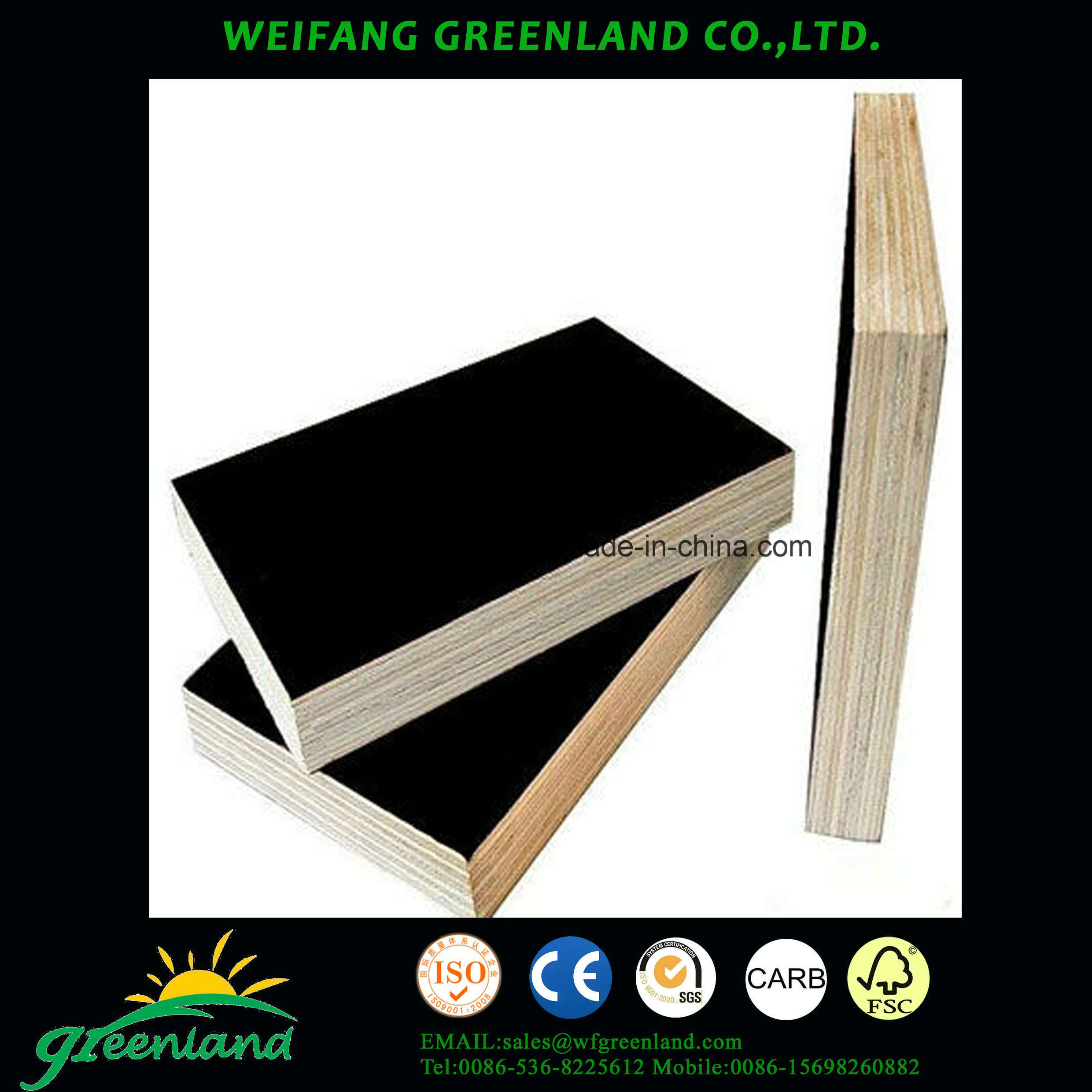 18mm One Time Hot Press Quality Fillm Faced Plywood with Brown Film