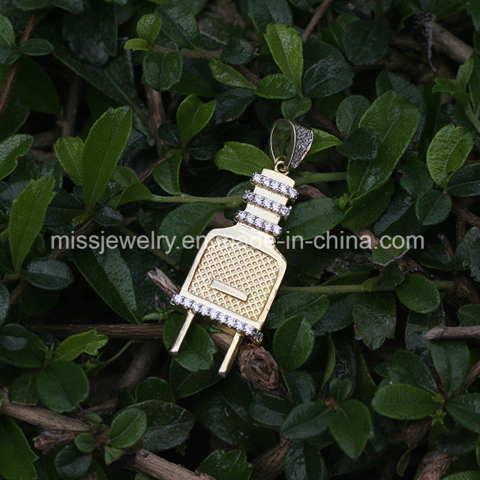 26mm Silver Yellow Plated 3D Microphone Pendant
