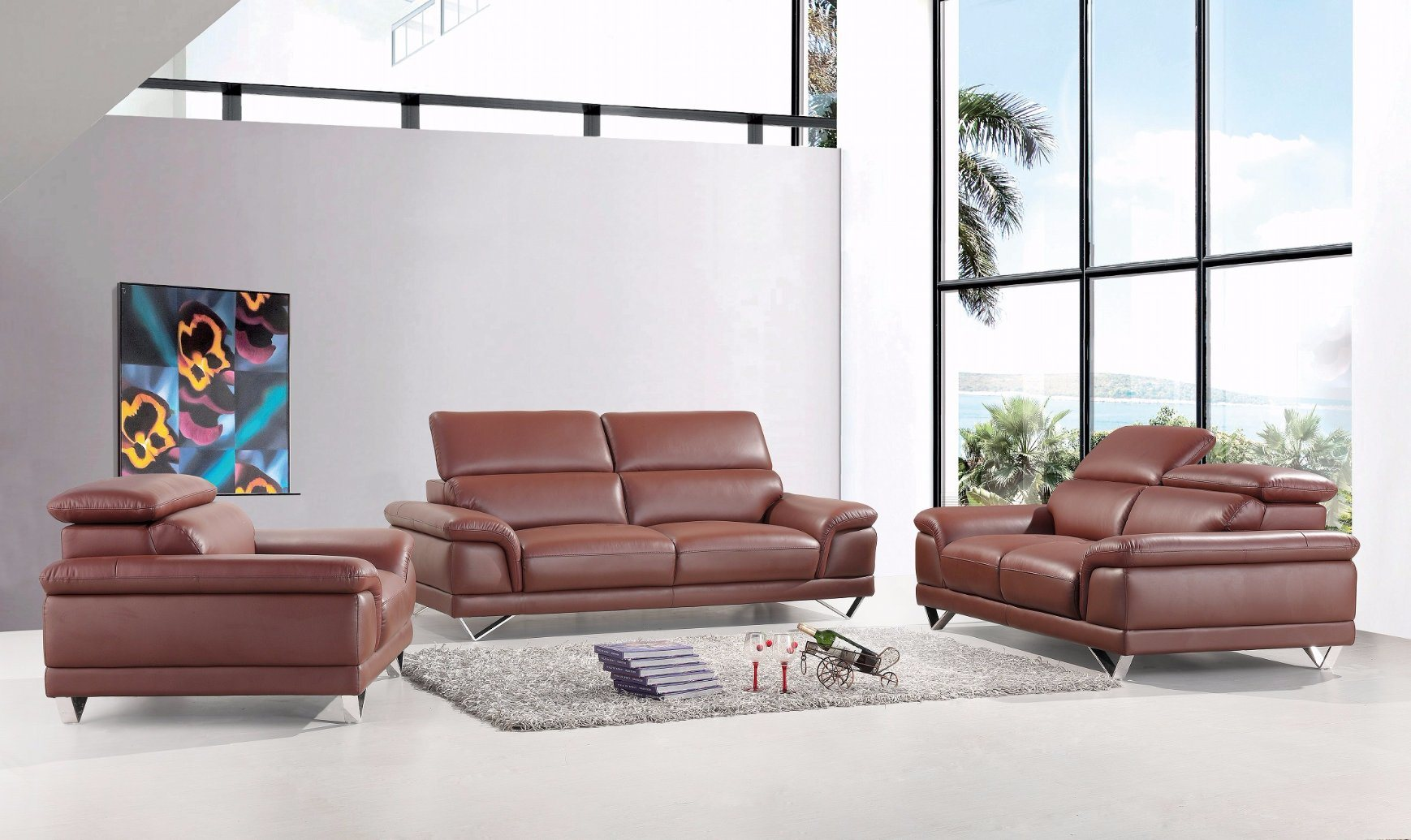 China European Style Living Room Furniture New Italian Leather Sofa ...
