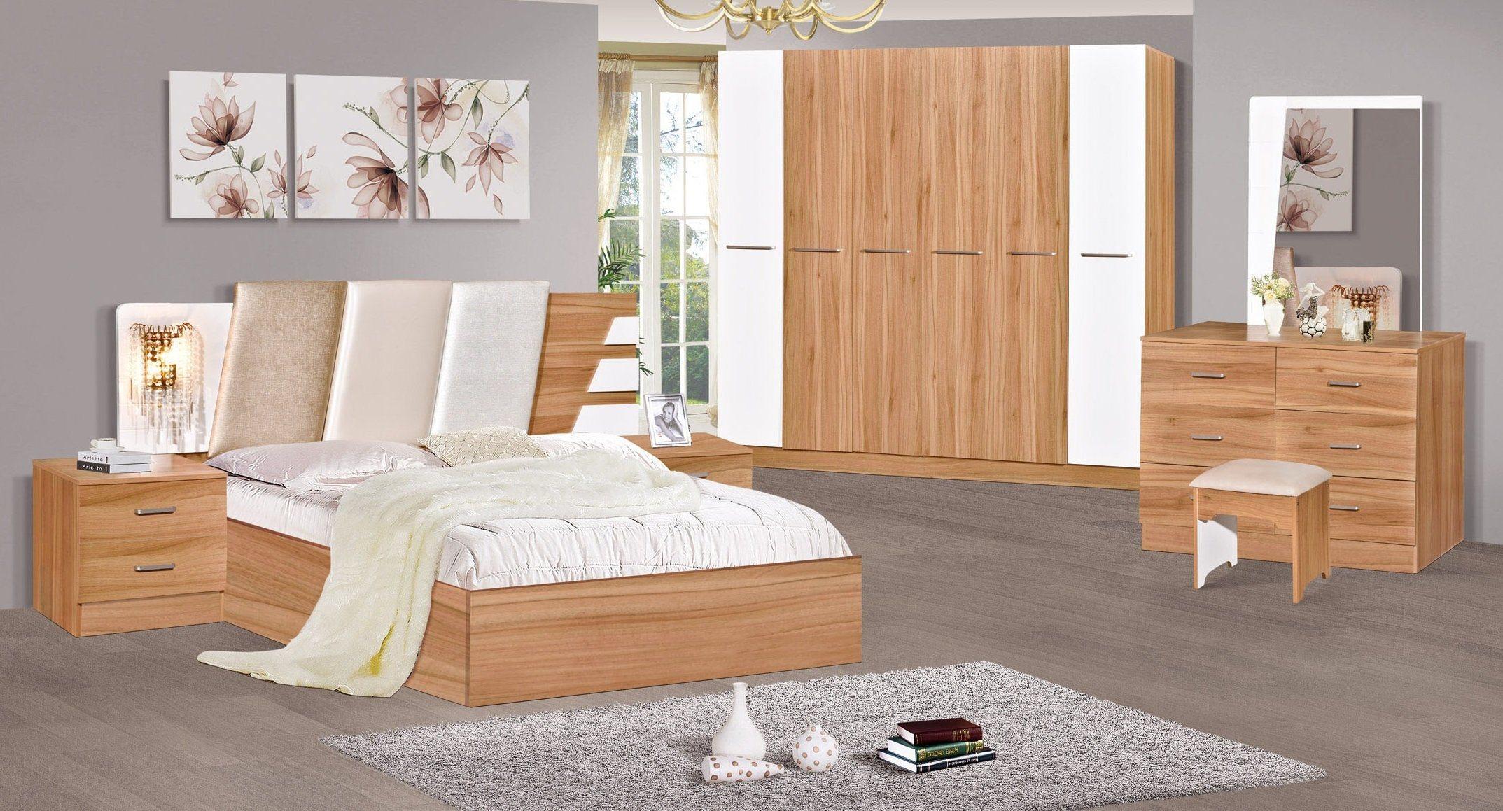 [Hot Item] New Design Modern Furniture Bedroom Sets Melamine Finish  Wardrobe Dressing Table King Size Bed