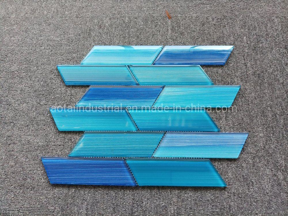 China Fashionable Design Blue Glass Mosaic For Glass Tile Kitchen Backsplash China Floor Tiles Bathroom Tiles