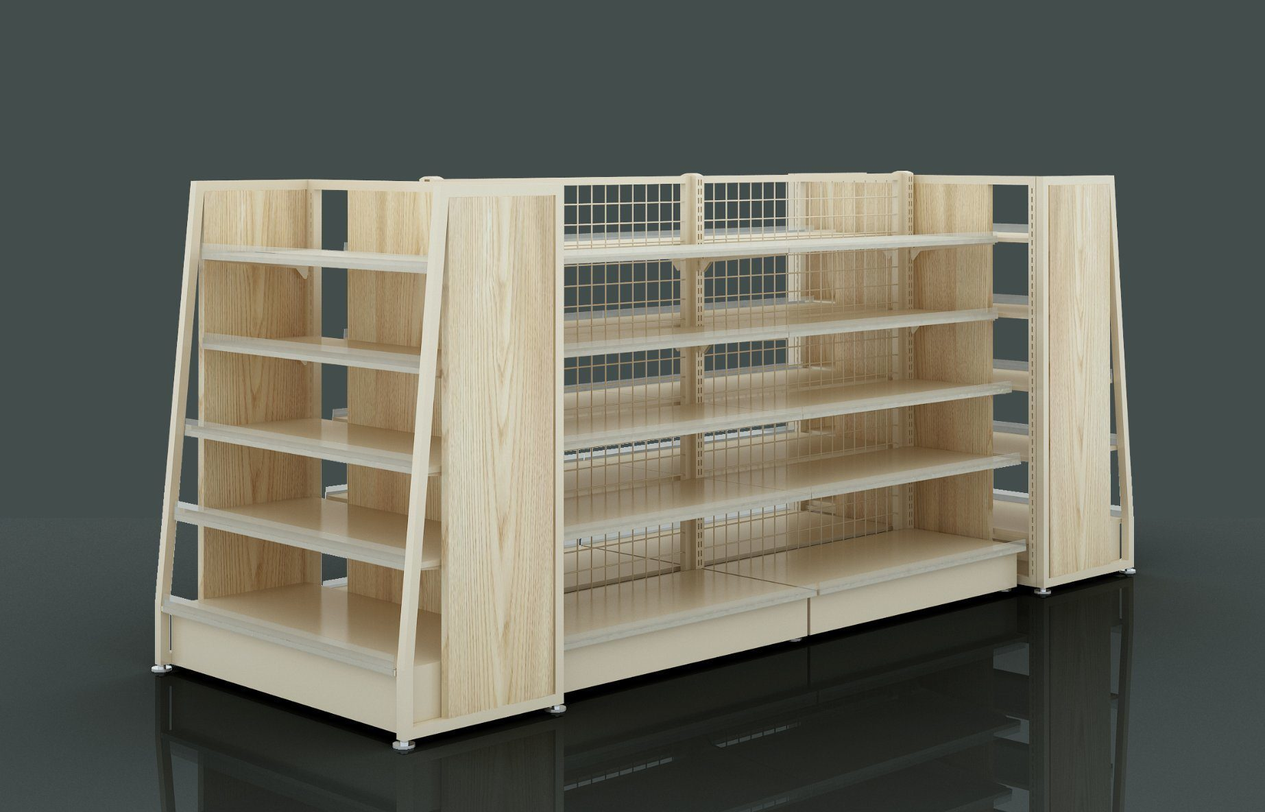 Hot Item Grocery Store Shop Fitting Equipment Supermarket Display Steel And Wood Shelves