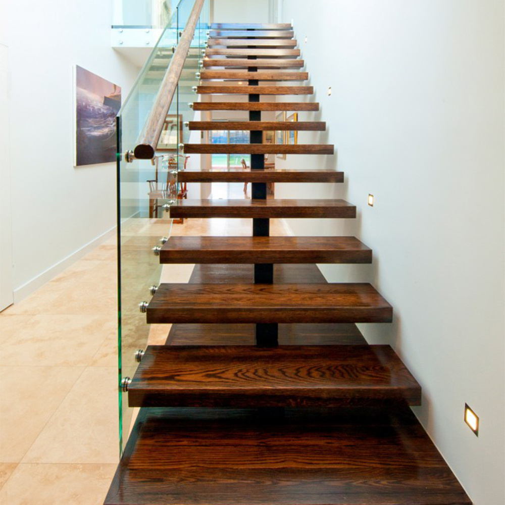 China Carbon Steel Stringer Stair Design Wooden Tread Straight