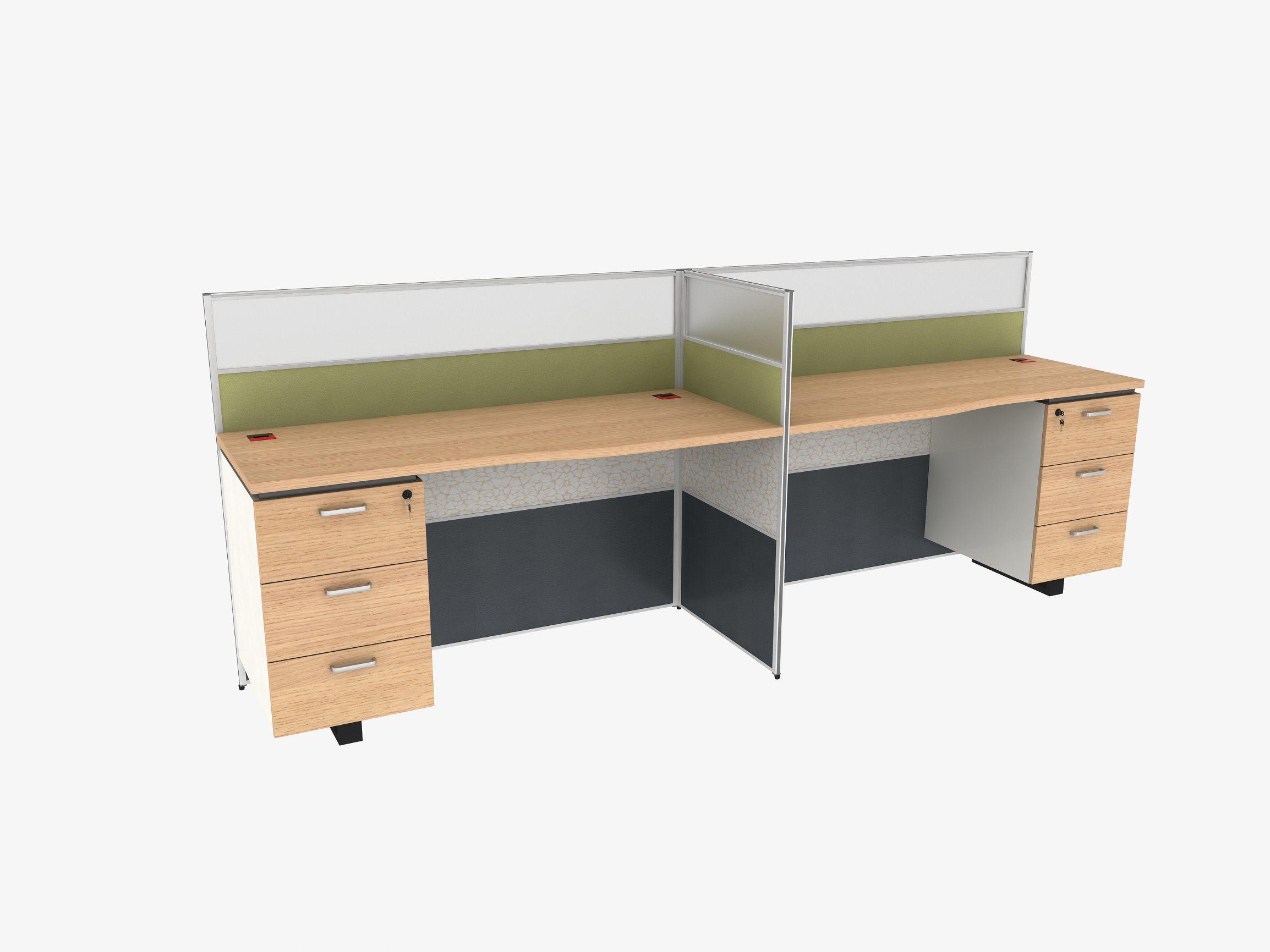 Hot Item Wooden Staff Table Office Desk 2 Person Furniture Workstation