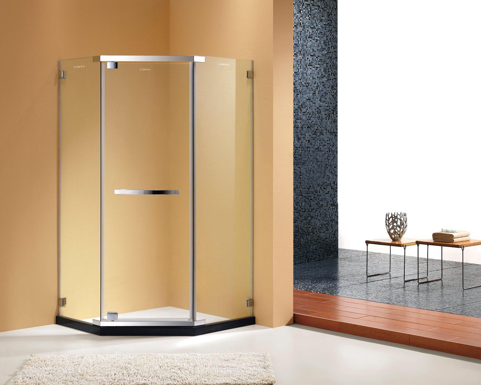 Hot Item Brushed Nickel Semi Framed Pivot Shower Door Shower Enclosure
