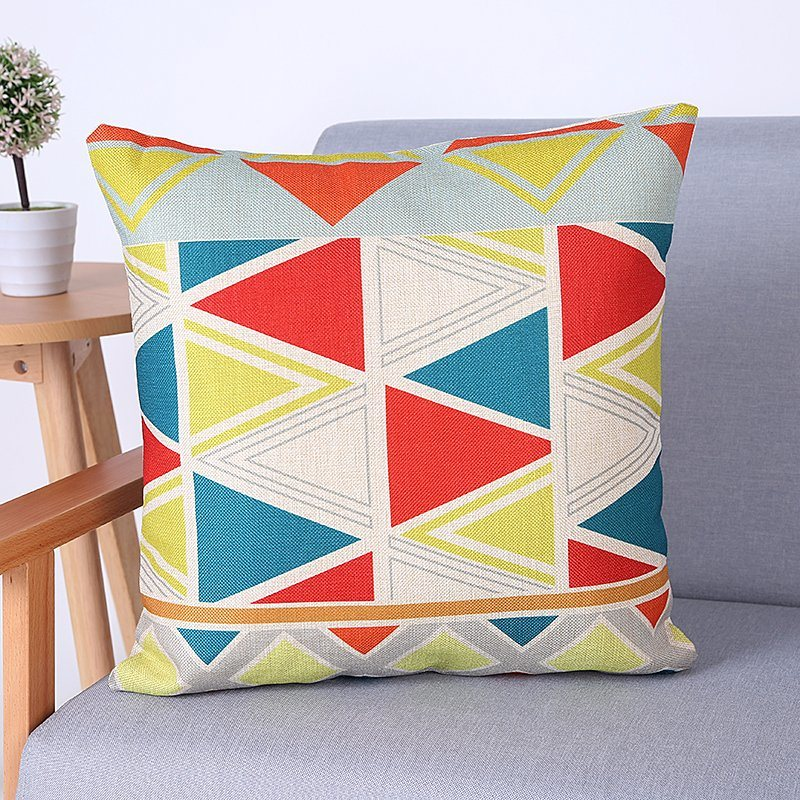 Digital Print Decorative Cushion/Pillow with Geometric Pattern (MX-66)