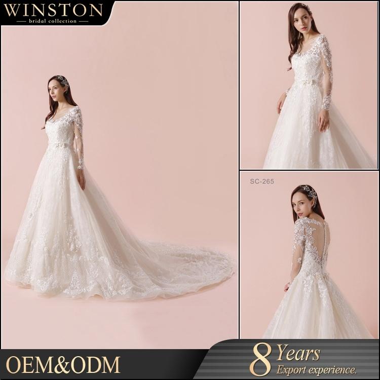 China Alibaba New Design Long Sleeves Lace Wedding Dress Patterns