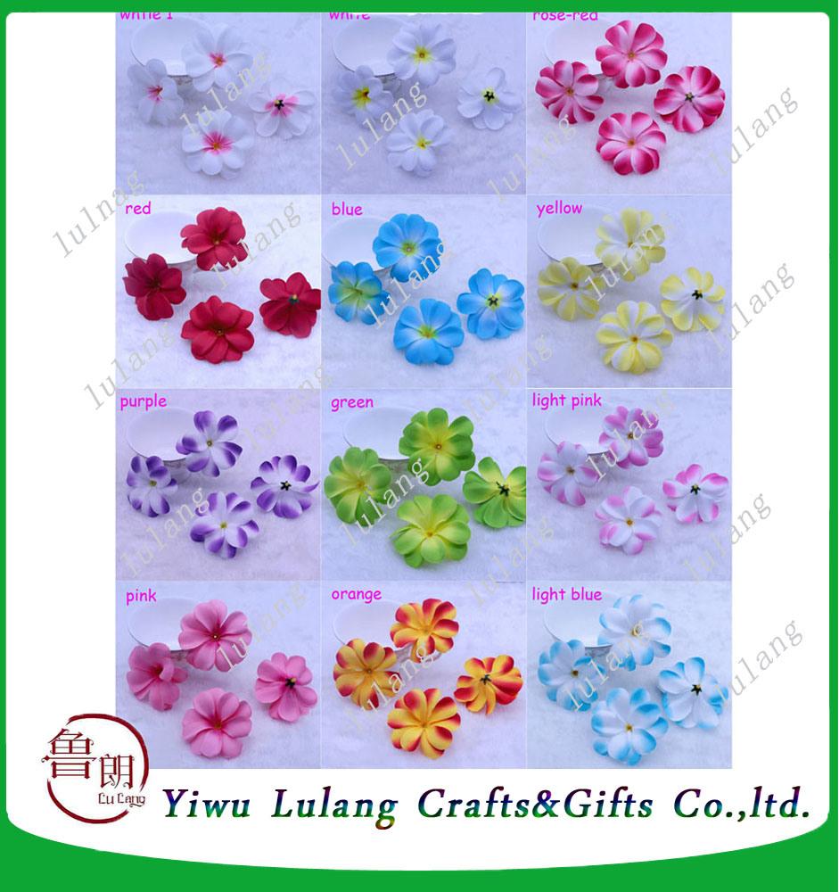 China Artificial Frangipani Flower Heads Plumeria Cloth Wedding