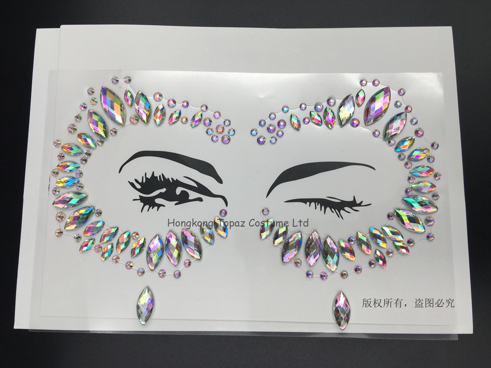 Edm music festival stage makeup party eye face custom made adhesive diamond acrylic sticker body jewel stickers s013