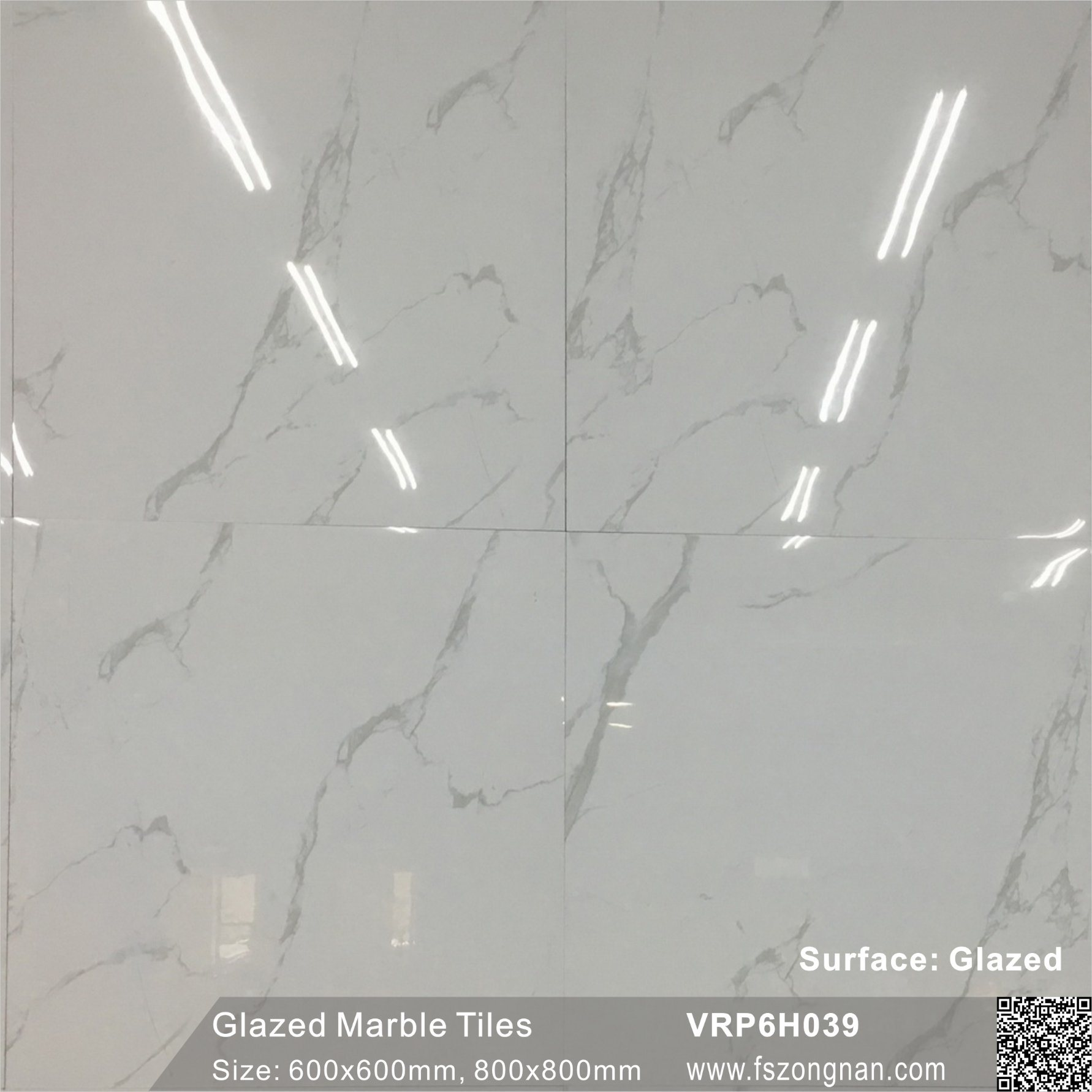 China Foshan Carrara White Glazed Marble Polished Porcelain Floor