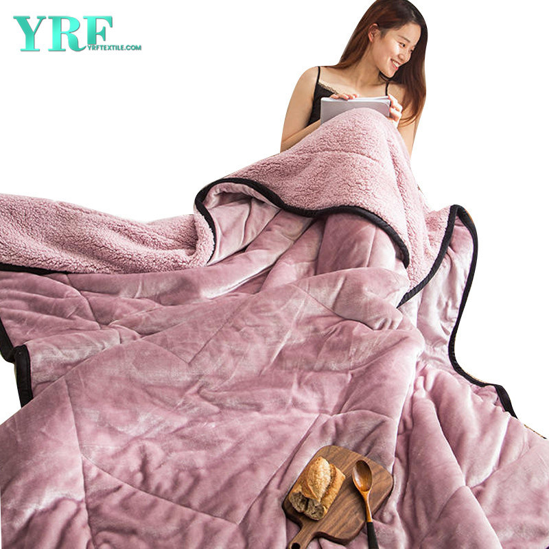 China Faux Fur Blanket Double Layers Comfortable Light Pink for