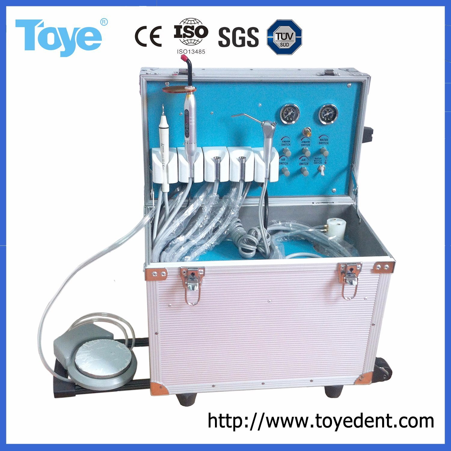 Simple and Convenient Portable Dental Unit with 3-Way Syringe pictures & photos