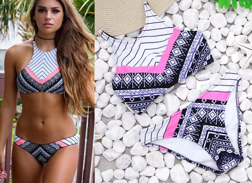 40e286a05c596 Sexy Bikinis Women Swimsuit 2018 Summer Low Waisted Bathing Suits Halter  Top Push up Bikini Set Plus Size Swimwear XXL